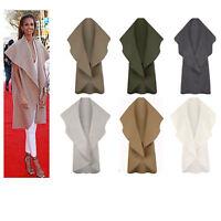 L117 Womens Italian Sleeveless Waterfall Drape Cape Ladies Waistcoat Blazer Coat