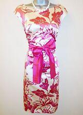 Costa Rosa Floral Duquesa Raso Y Seda Cinturón De Noche Vestido Lápiz ocasión 12