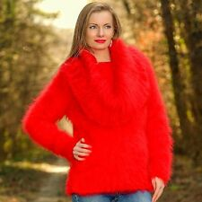Hand knit designer sweater fuzzy mohair cowlneck fluffy jumper SUPERTANYA SALE
