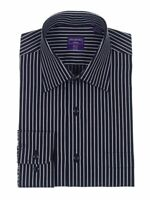 Mens Classic Fit Black With White Stripes Semi Spread Collar Cotton Dress Shirt