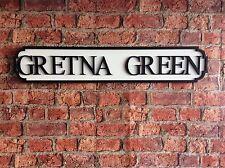 Vintage Wood Street Road Sign GRETNA GREEN