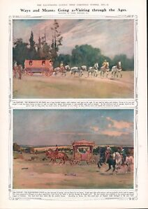 OLD 1935 PRINT HORSE TRANSPORT TWO PRINT PAGE ARTIST LIONEL EDWARDS b21