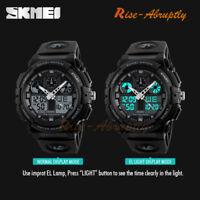 SKMEI Men's Waterproof Sports Army Alarm Date Analog Digital Wrist Watch Black