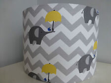 Grey*White Chevrons*Elephant*Yellow Umbrella~Childrens Nursery Fabric Lampshade