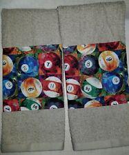 CUSTOM - GAME ROOM POOL HALL BILLIARD CUE TABLE BAR CLUB TAN HAND TOWEL SET 2