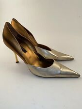 Sergio Rossi Sz 41 Two Tone Gold Silver Metallic Pointed Toe Heels Pumps US10