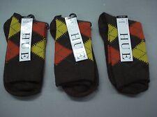 NWT Women's Hue Argyle Socks One Size Espresso 3 Pair #78J