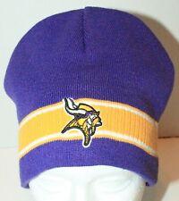 MINNESOTA VIKINGS NFL FOOTBALL REEBOK ONE SIZE PUR YLW RIBBED NO CUFF  BEANIE CAP 310fbb787