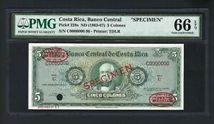 Costa Rica 5 Colones ND(1963-67) P228s Specimen TDLR  Uncirculated Graded 66