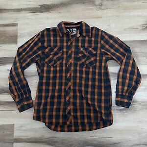 Mossy Oak Orange Black Plaid Pearl Snap Button Shirt Medium Hunt work