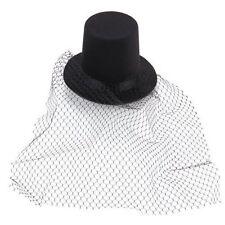 Black Mini Top Hat Veil Clips Party Lolita Cosplay Goth Fancy Dress CT