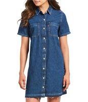 NEW Levi's Denim Button Front Short Sleeve Shirt Dress Cotton $64