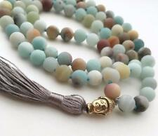 8mm Natural Amazonite 108 Beads Tassels Necklace energy mala Meditation natural