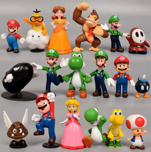 AU 18pcs Super Mario Action Figures Character Toy Cake Topper Kids Birthday Gift