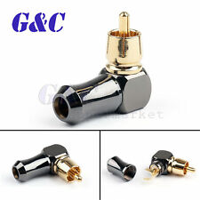 90°Right Angle RCA Male Plug Audio Video Connector Soldering Adapter Mini Jack