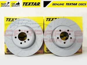 FOR BMW 330d M SPORT FRONT COATED CROSS DRILLED TEXTAR BRAKE DISCS 2012- 370mm