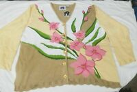 Storybook Knits 2x Floral design, Sweater   Cardigan
