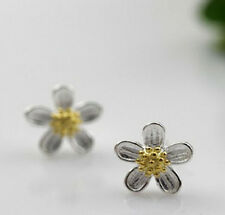 Ohrstecker Blümchen Blume 5 Blütenblätter goldfarbene Mitte Sterling Silber 925
