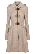Topshop Premium Oatmeal Metal Clasp Skirted Princess Hooded Riding Coat 8 4 36 S