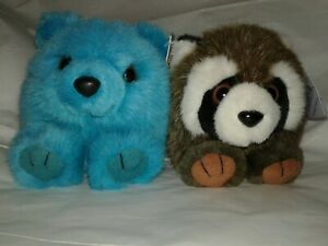 Vintage Puffkins Plush Racoon And Teal Bear Stuffed Animals Tags Have Wear
