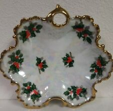 Ucago Christmas Candy Dish Mother of Pearl and Gold Finish Holly Design MCM...
