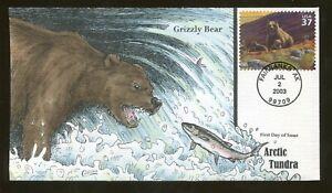 2003 Fairbanks Alaska - Arctic Tundra - Grizzly Bear - Collins FDC