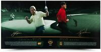 "TIGER WOODS & JACK NICKLAUS Autographed ""MASTERFUL"" 36 x 18 Photo UDA"