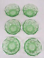 HAZEL ATLAS GREEN DEPRESSION GLASS SET OF 6 BERRY BOWLS