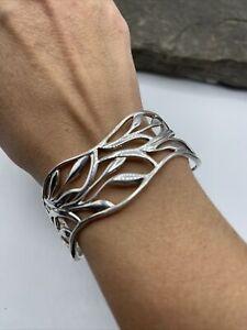 Beautiful Sterling Silver/925 Wavy Modernist Cuff Bracelet #A77