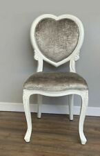 French Louis XV Crushed Silver Velvet Heart Chair
