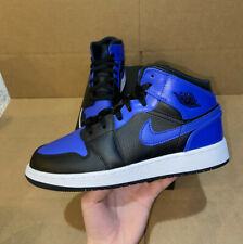 Nike Jordan 1 MID GS Hyper Royal Negro Blanco 4-6.5Y Mujer 5.5-8.5 554725 077