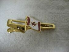 OPEN STYLE DESIGN Vintage CANADA CANADIAN FLAG MAPLE LEAF Tie Clip Tie Clasp ~
