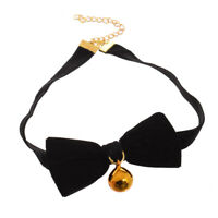 Gothic Lolita Girl's Cat Maid Bowknot Bell Choker Ribbon Necklace