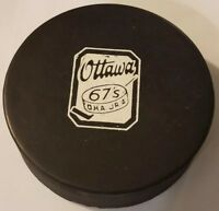OTTAWA 67's MAJOR JR. A VINTAGE CMJHL CAHA OFFICIAL GAME PUCK CANADA OLD SLUG