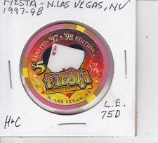 LTD EDIT $5 CASINO CHIP FIESTA N.L.V., NV 1997-1998 STYLE #1 ONLY 750 VERY NICE!