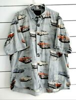 North River Outfitters Size 2XL Route 66 Men's Button Up Short Sleeve Shirt Cars
