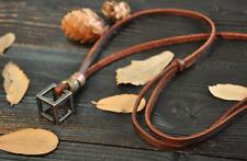 Collana Cubo Cuoio Vintage Fashion Pendant Adjustable Leather Necklace Cube