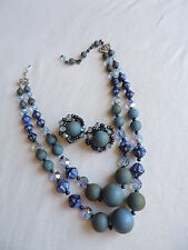 Vintage HOBE Blue Crystal Necklace Earrings Jewelry Set (mm093)