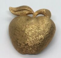 Vintage Brooch Pin Signed Coro Gold Tone Apple Textured