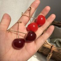 Lovely Red Cherry Fruit Dangle Drop Stud Earrings for Women Girl Student Gifts