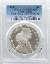 More details for 1997 royal mint golden wedding £5 five pound silver proof coin pcgs pr69 dcam