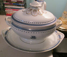 "Mottahedeh Vista Alegre ""Indigo"" Soup Tureen w/Lid & Underplate MINT Portugal"
