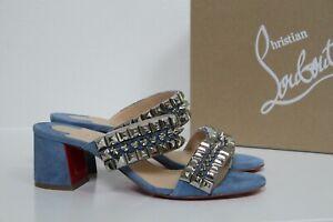 New sz 7.5 / 38 Christian Louboutin Tina Goes Mad Blue Studded Sandal Heel Shoe