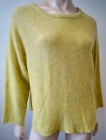 ZADIG & VOLTAIRE Women's Lime Yellow 100% Cashmere BANCO Jumper Sweater Top M