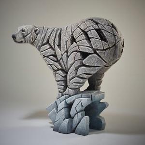 Polar Bear Edge Sculpture Figure Evocative Hand Painted - Marble Castings Blend