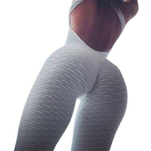 Womens Anti Cellulite Yoga Jumpsuit Rompers Leggings Pants Exercise Bodysuits US