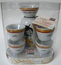 Jo!e Sake Serene Set 4 Cups 1 Carafe Asian Geisha Design Great With Sushi NEW