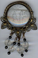 *LARGE VINTAGE VICTORIAN REVIVAL BRASS & CARVED GLASS ROMANTIC SCENE DANGLE PIN*