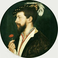 Beautiful art Oil painting male Portrait of Simon George with little red flowers