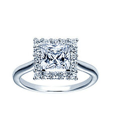 PRINCESS CUT 1.52 CT REAL DIAMOND HALO ENGAGEMENT RING GAL CERTIFIED